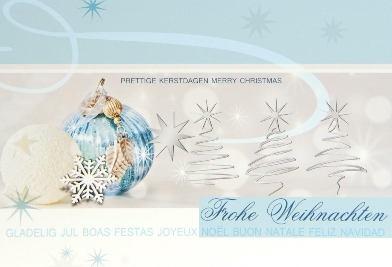 Weihnachtskarte Mint mit internationalen Weihnachtsgrüßen | Karteninsel