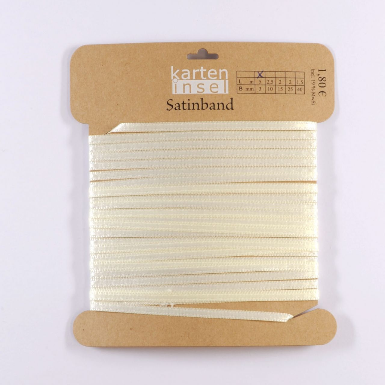 Satinband creme - 3 mm - 5 m
