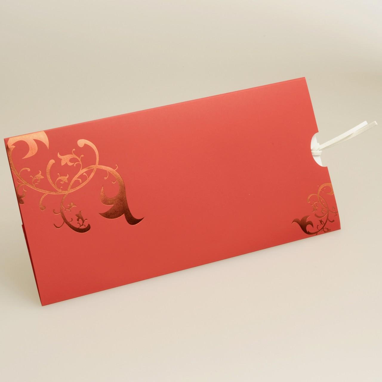 Knallrote Einladungskarte mit roten Folienranken