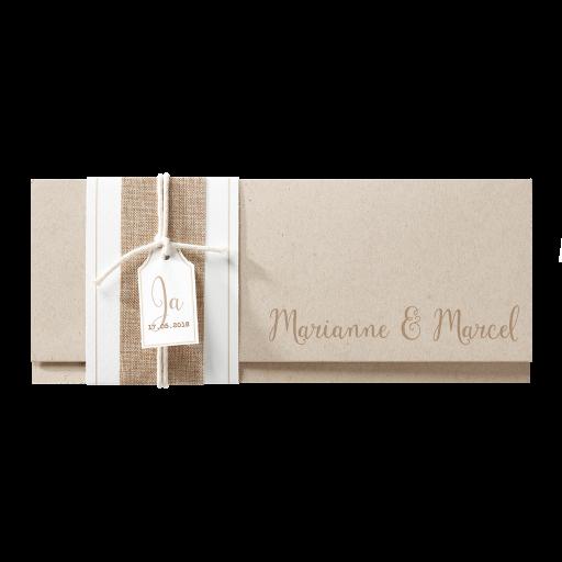 Naturfarbene Einladungskarte mit Banderole