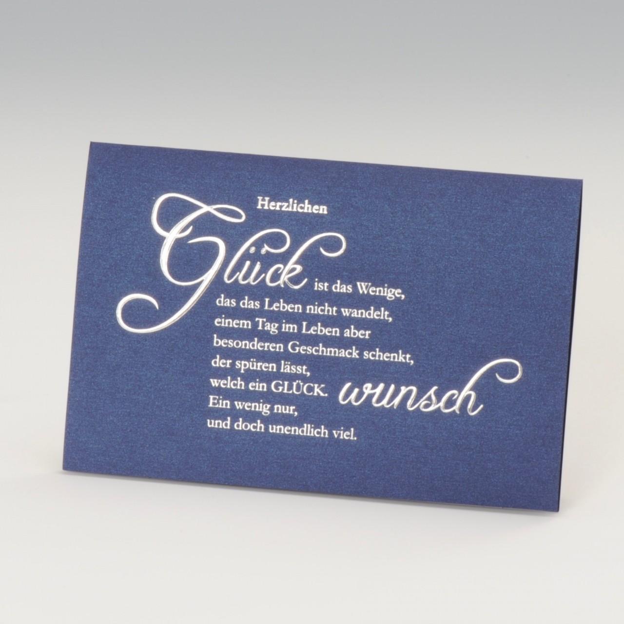 Elegante dunkelblaue Karte mit Silberfolienprägung