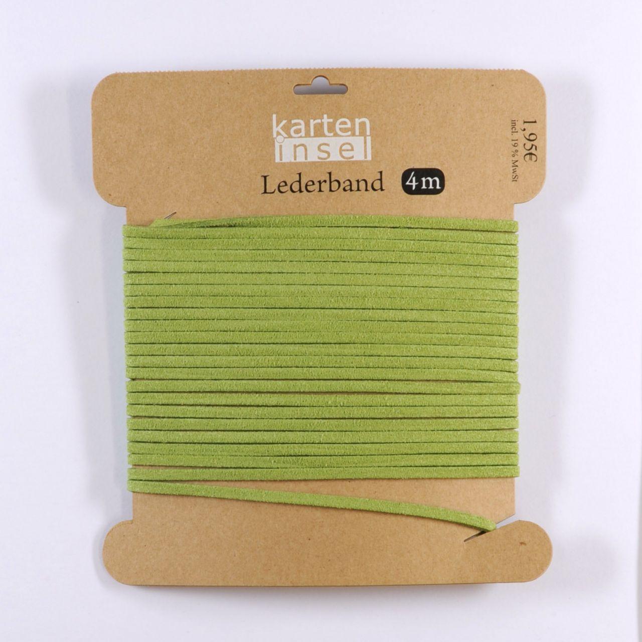 Lederband grün - 4 m