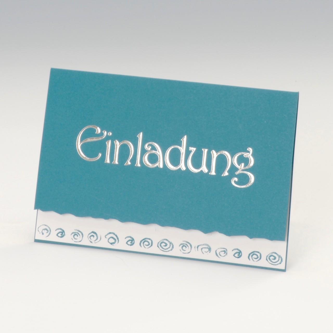 Türkisfarbene Einladungskarte mit Silberfolienprägung