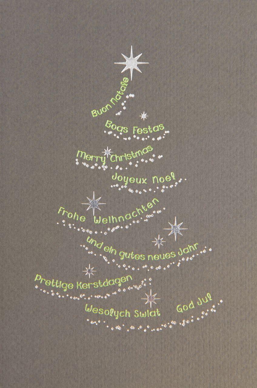 Dunkelgraue Karte mit Weihnachtsbaum, Einleger und Kuvert.