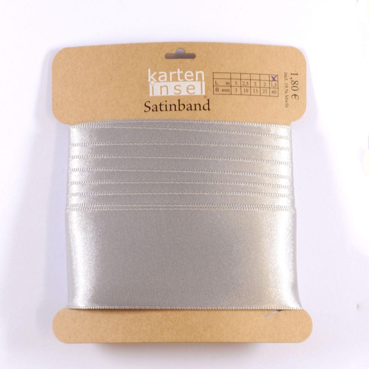 Satinband silber - 40 mm - 1,5 m