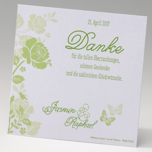 """Glänzende """"Save the Date""""-Karte mit grünen Blüten und Schmetterling"""
