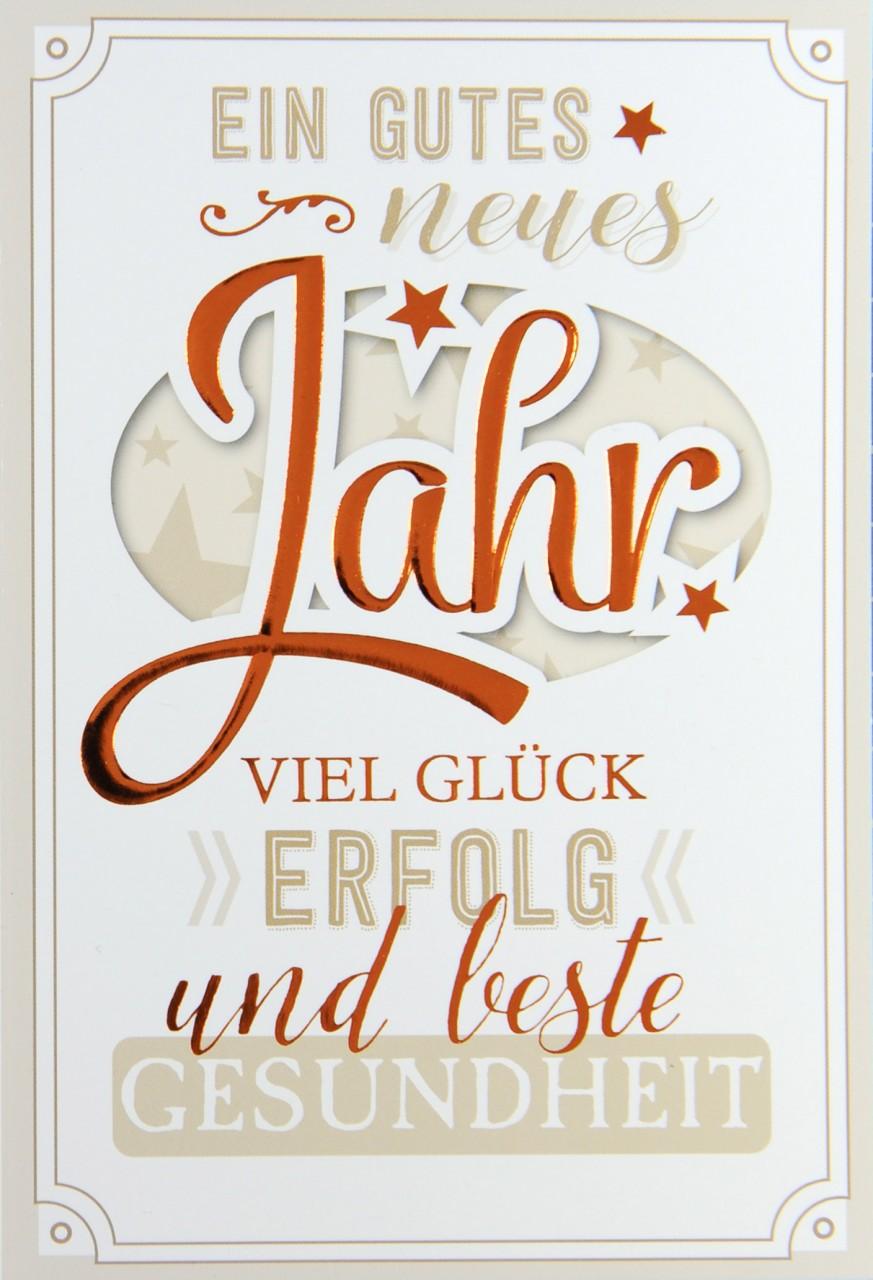 Neujahres Grußkarte mit plakativem Schriftzug in warmen Erdfarben ...