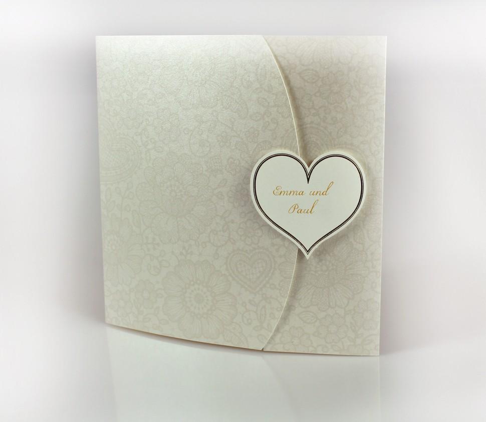 Quadratische Einladungskarte mit gedruckten Ornamenten