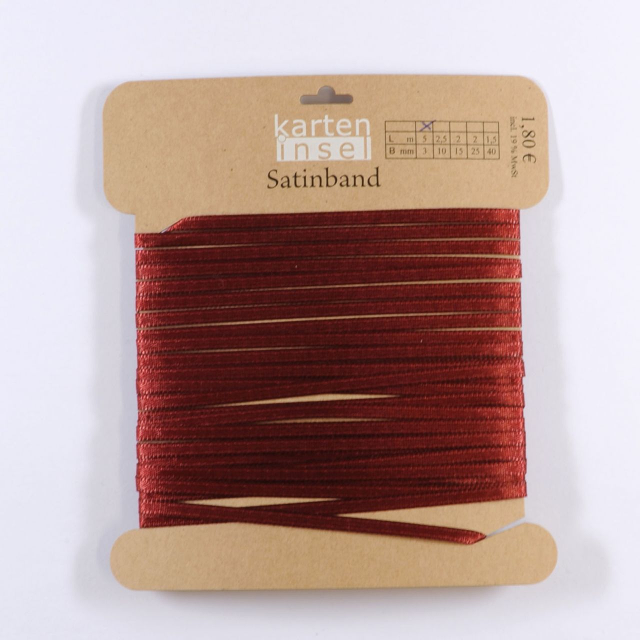 Satinband bordeaux - 3 mm - 5 m