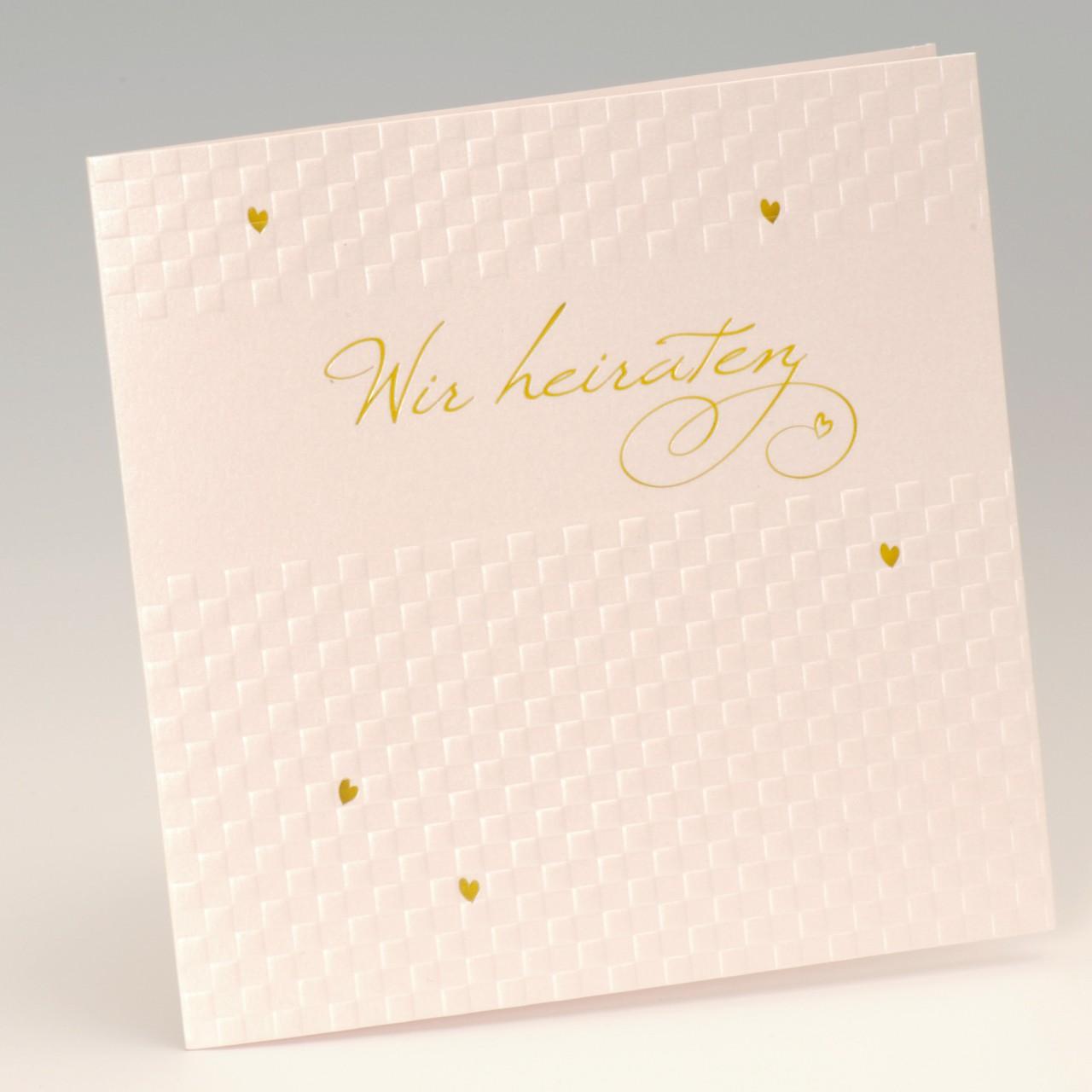 Perlmuttfarbene Einladungskarte mit goldener Folienprägung