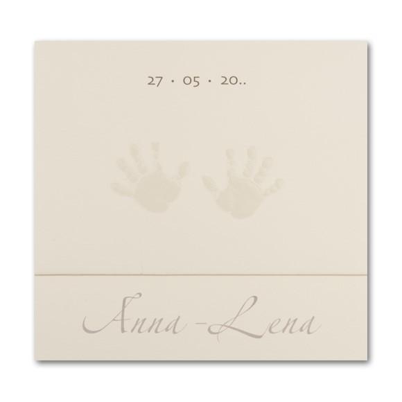 Schlichte quadratische Babykarte mit geprägten Händen
