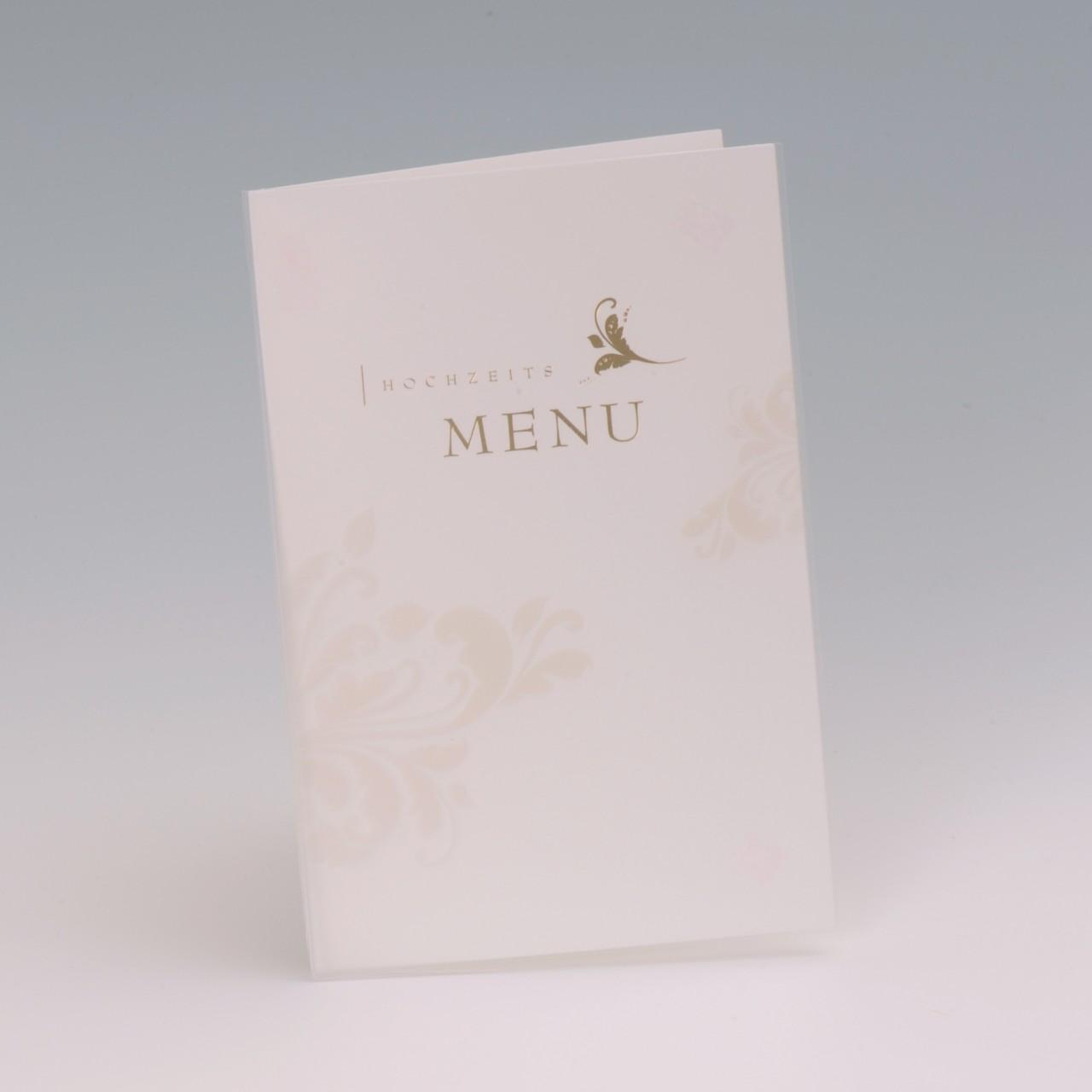 Die Menukarte weiß fügt sich in stiller Zurückhaltung gekonnt in eine festliche Tischdekoration ein und unterstreicht diese gekonnt. Jetzt bestellen.