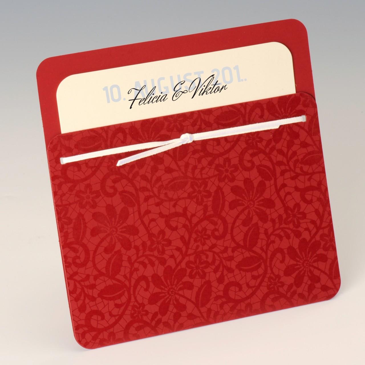 Rote Einladungskarte mit abgerundeten Ecken und Ranken