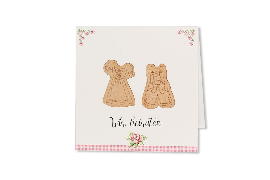 Die Hochzeitskarte Tracht ist im traditionellen Stil des Alpenlandes entworfen und wirkt mit der zarten Farbgebung jung und flippig. Jetzt online bestellen.