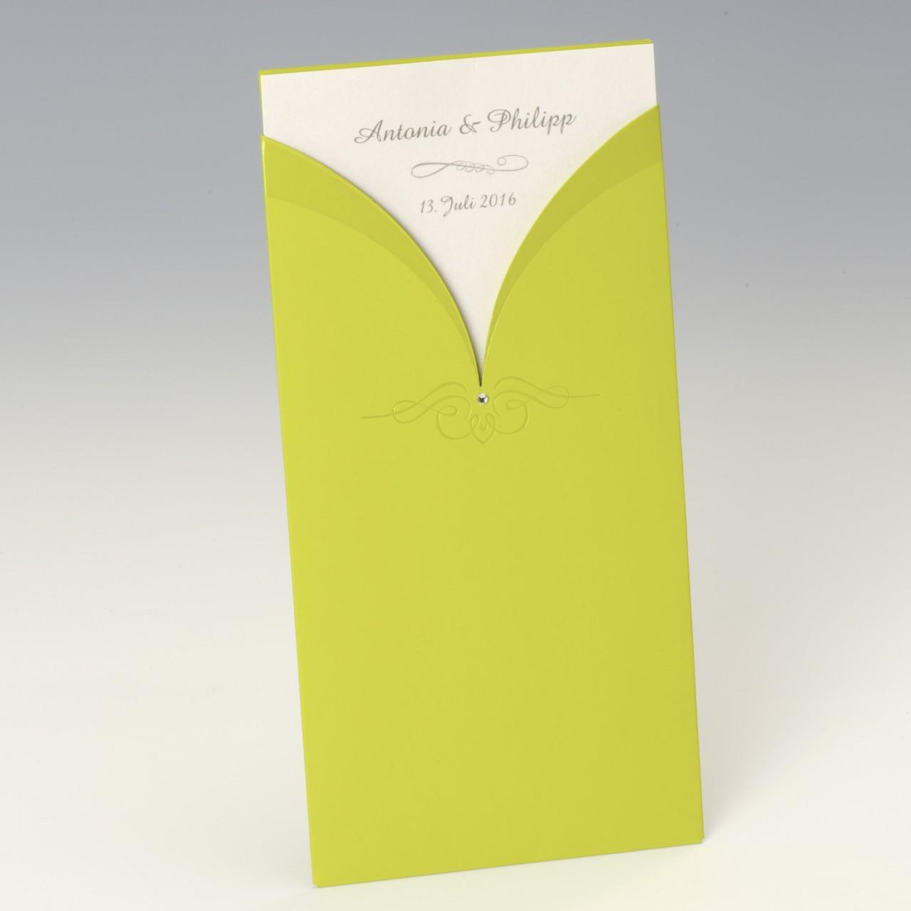 Apfelgrüne Einladungskarte mit Strassstein