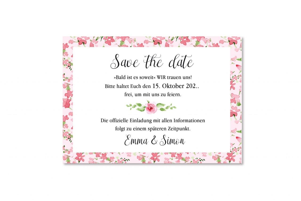 Die Save the Date Karte Rosa Blumen bringt Ihr Vorhaben auf den ersten Blick zum Ausdruck und der Termin kann von den Hochzeitsgästen reserviert werden.