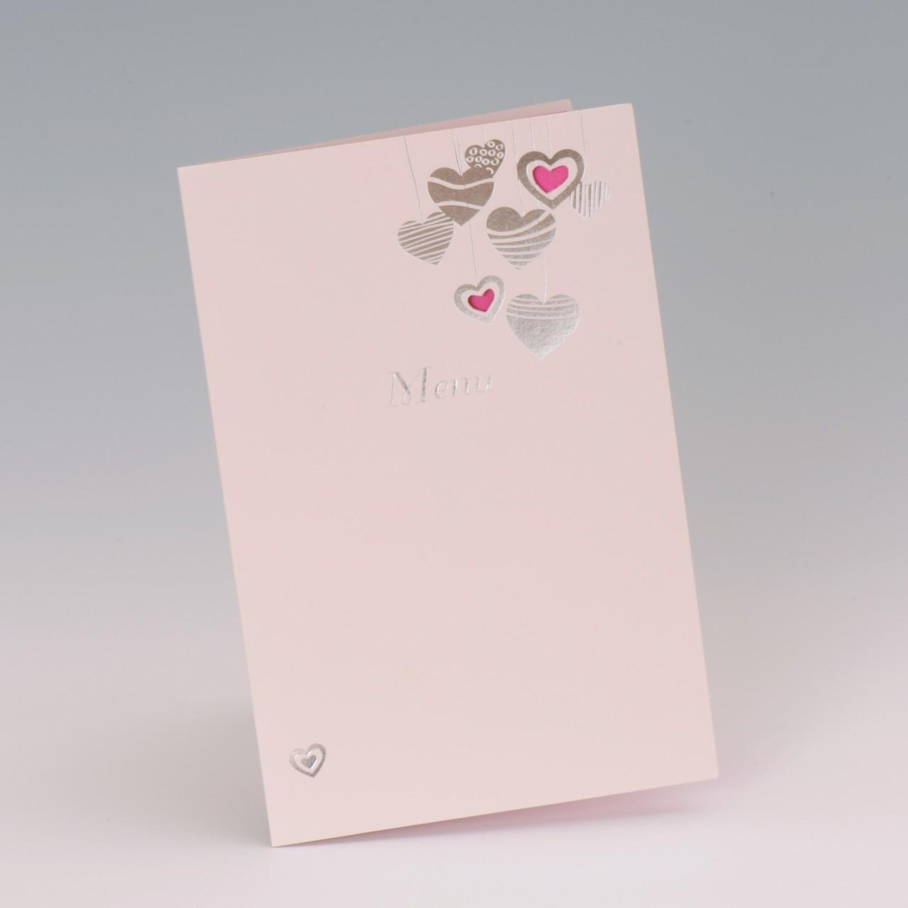 Mit dieser hübsch arrangierten Menukarte Herz pink laden Sie zu den kulinarischen Highlights Ihres Traumtages ein. Jetzt online bei uns bestellen
