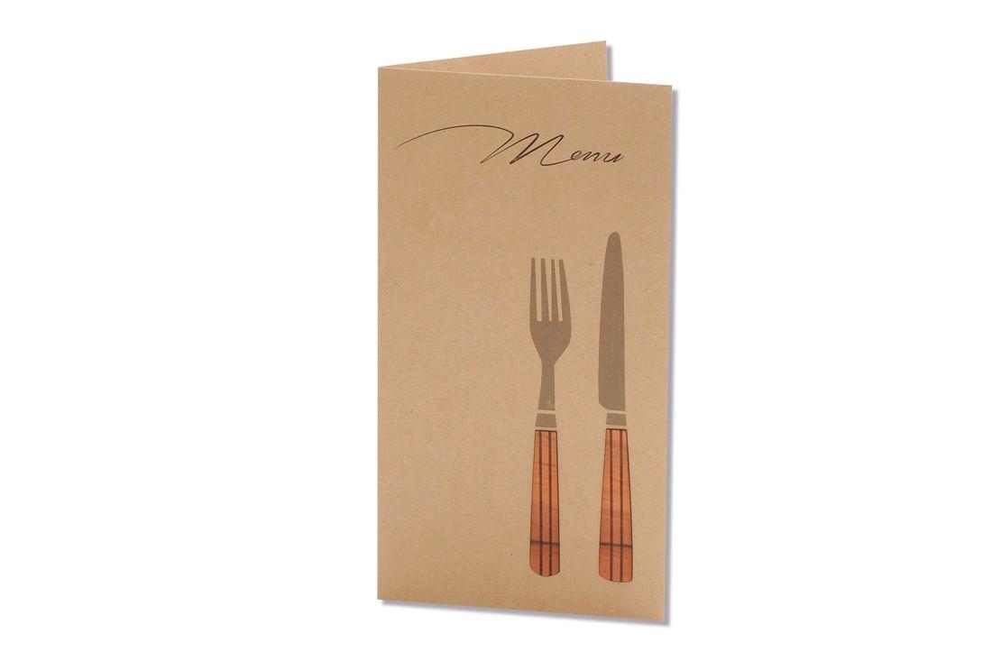 Mit der Menukarte Gabel und Messer haben Sie nicht nur den Geschmack der naturverliebten Gäste getroffen, sondern teilen den abgestimmten Speisenablauf mit.