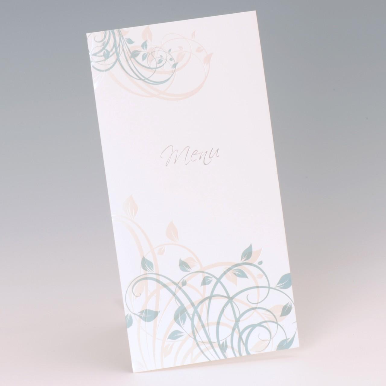 """Weiße Menükarte mit türkisen und perlmuttfarbenen Ornamenten, Silberfolienprägung """"Menu"""""""