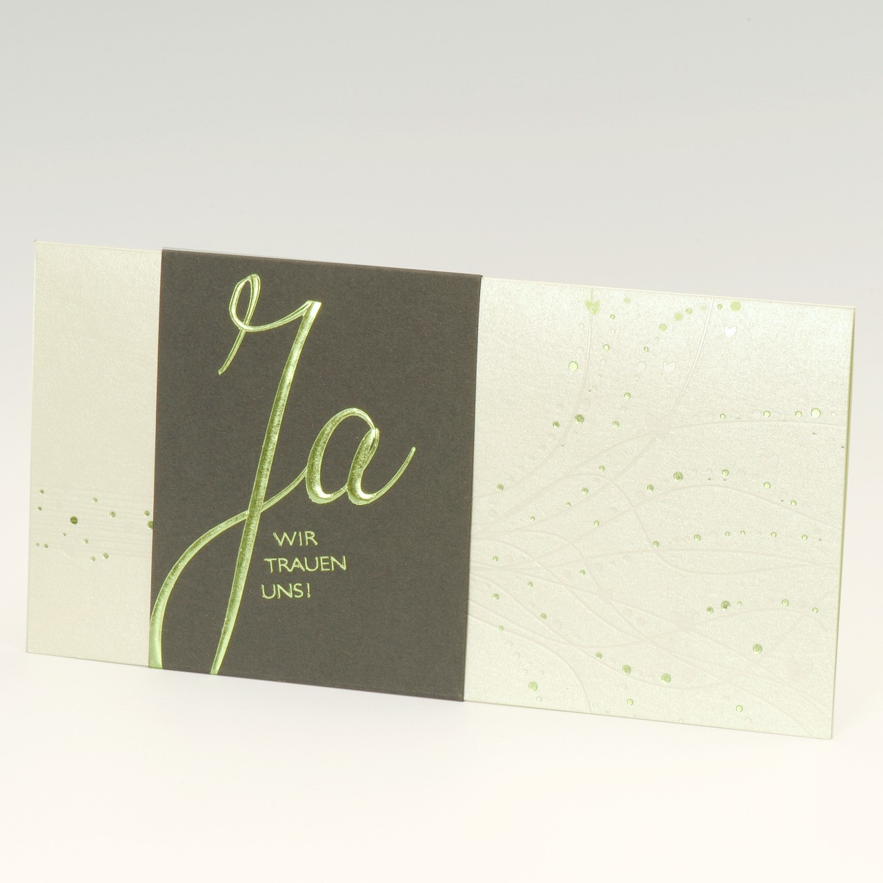 Mintgrüne Einladungskarte mit dunkelgrüner Banderole