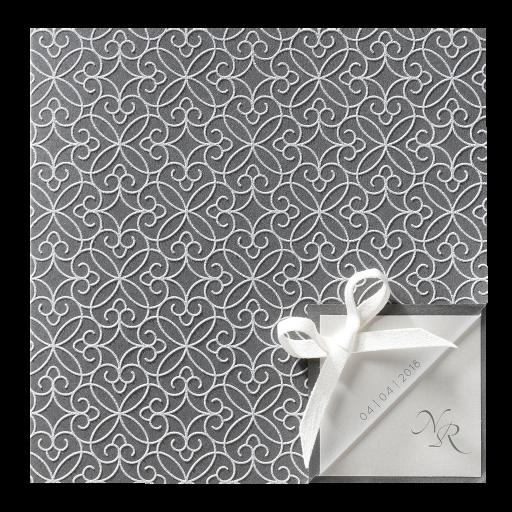 Graue Einladungskarte mit weißem Flockdruck
