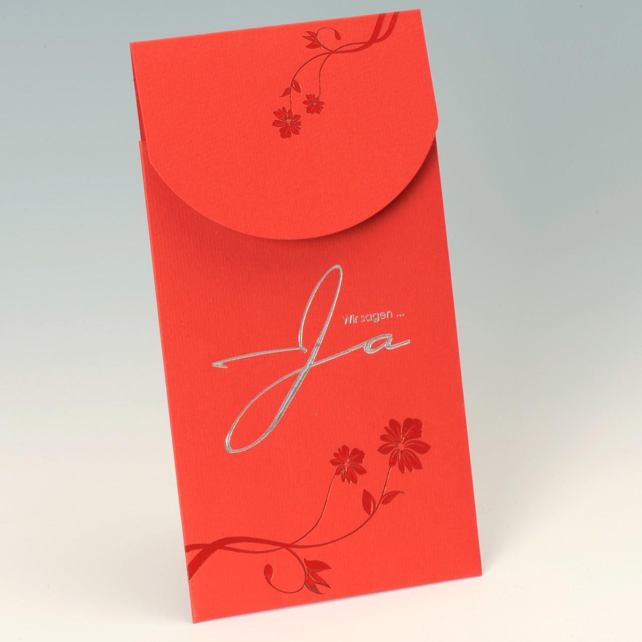 Rote Einladungskarte mit Magnetverschluss und weißem Einstecker, Kuvert weiß