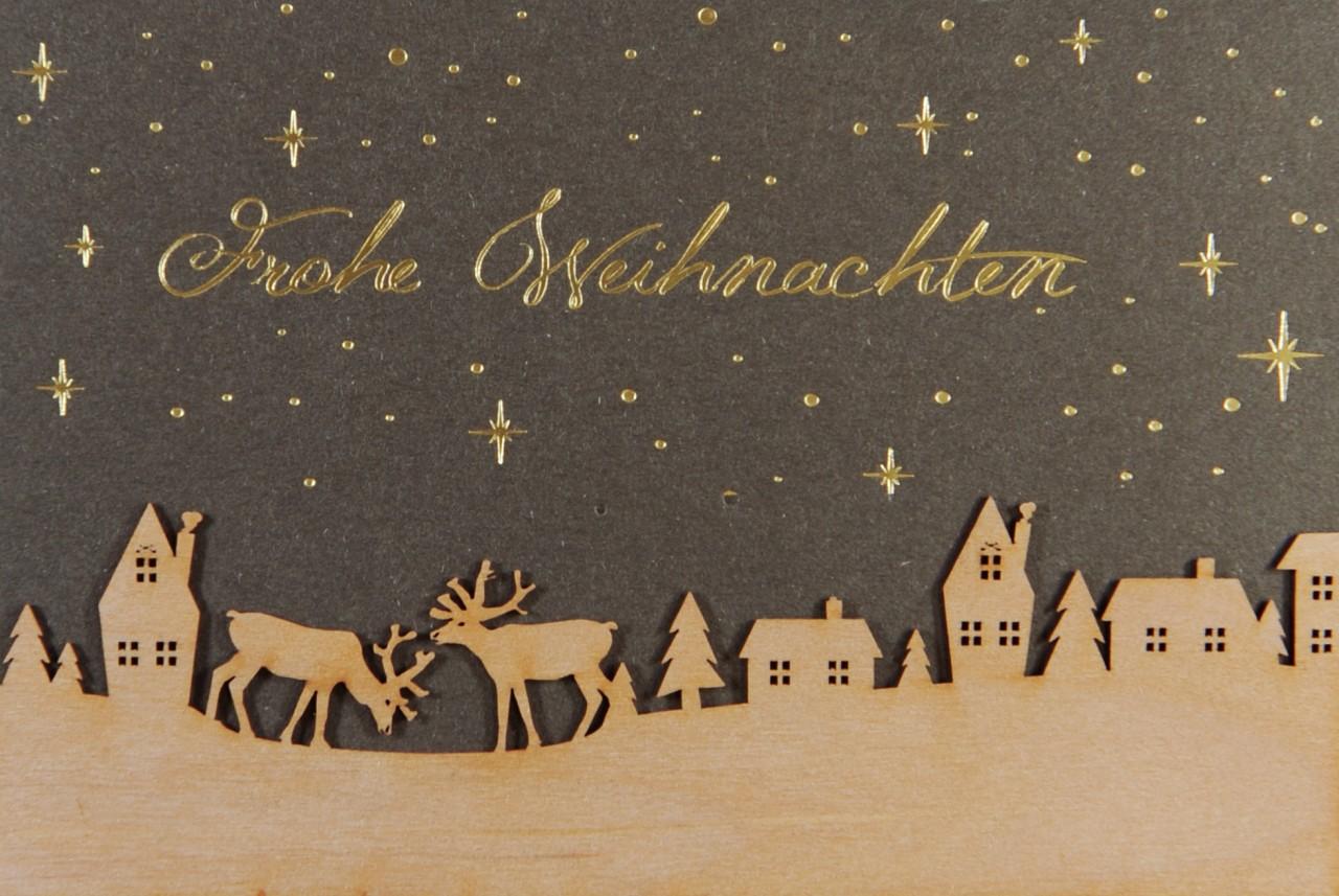 Besonders edle & hochwertige Weihnachtskarte mit Holzscherenschnitt ...