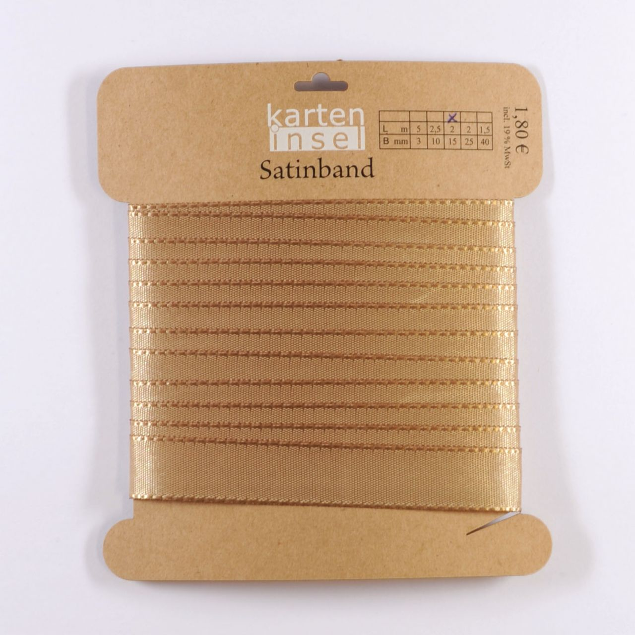 Satinband gold - 15 mm - 2 m