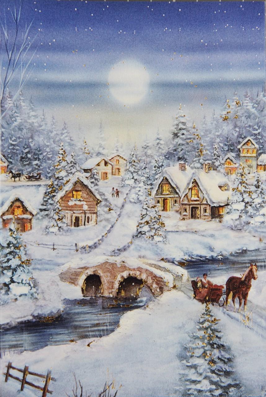romantische weihnachtskarte mit winterlandschaft karteninsel. Black Bedroom Furniture Sets. Home Design Ideas