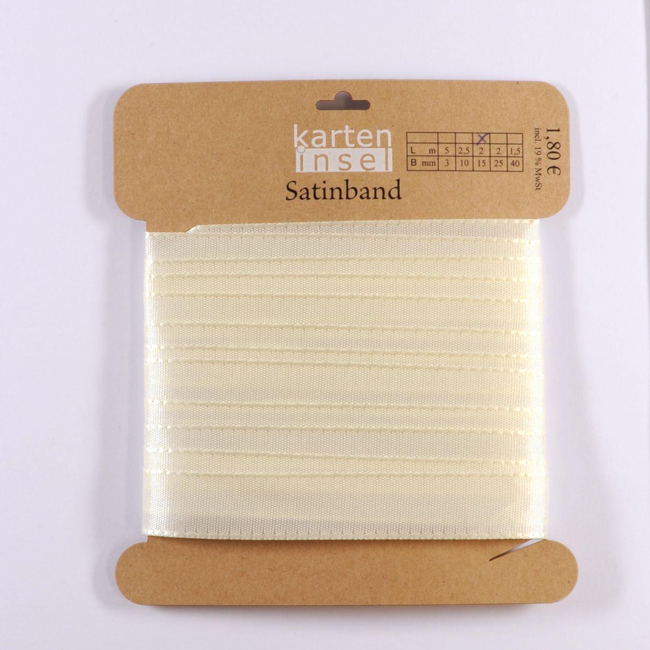 Satinband creme - 15 mm - 2 m