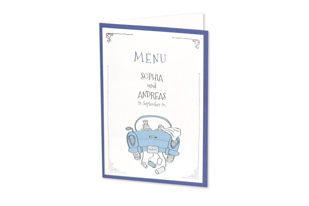Humorvoll illustrierte Menukarte Gemeinsam ins Glück, mit der das liebevoll ausgewählte Hochzeitsmahl den Gästen präsentiert wird. Jetzt online bestellen.