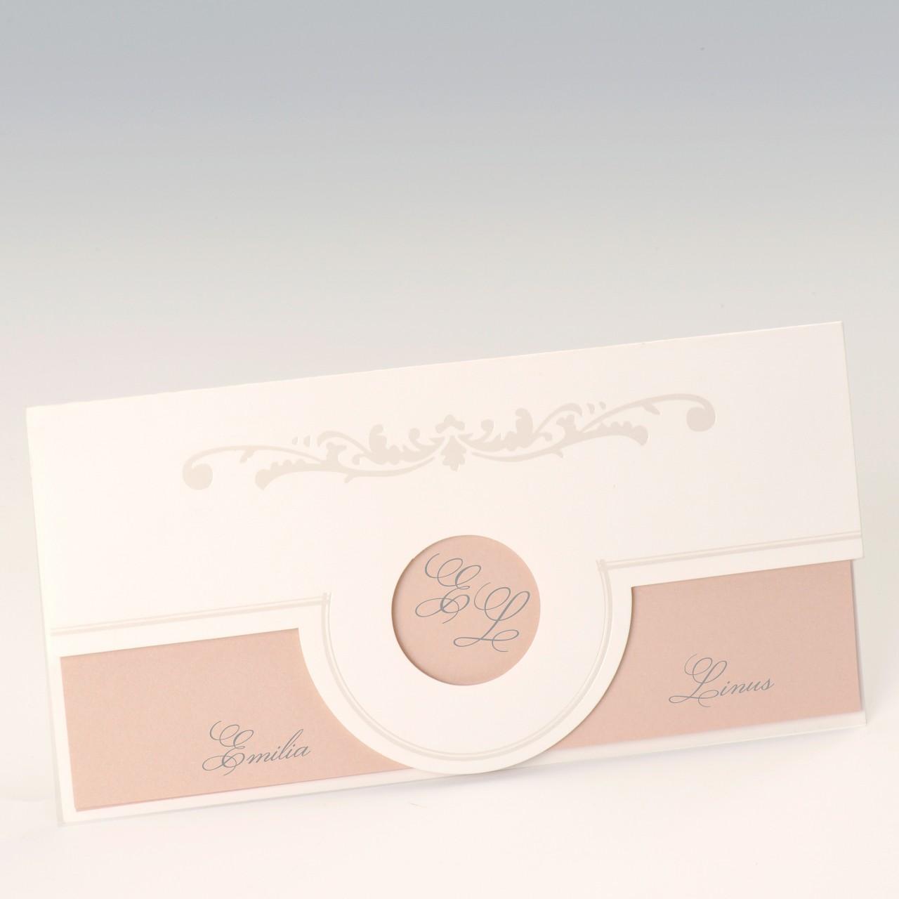 Cremefarbene Einladungskarte mit runder Ausstanzung