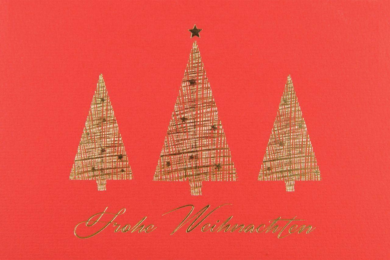 Rote Weihnachtskarte mit Einleger und Kuvert.
