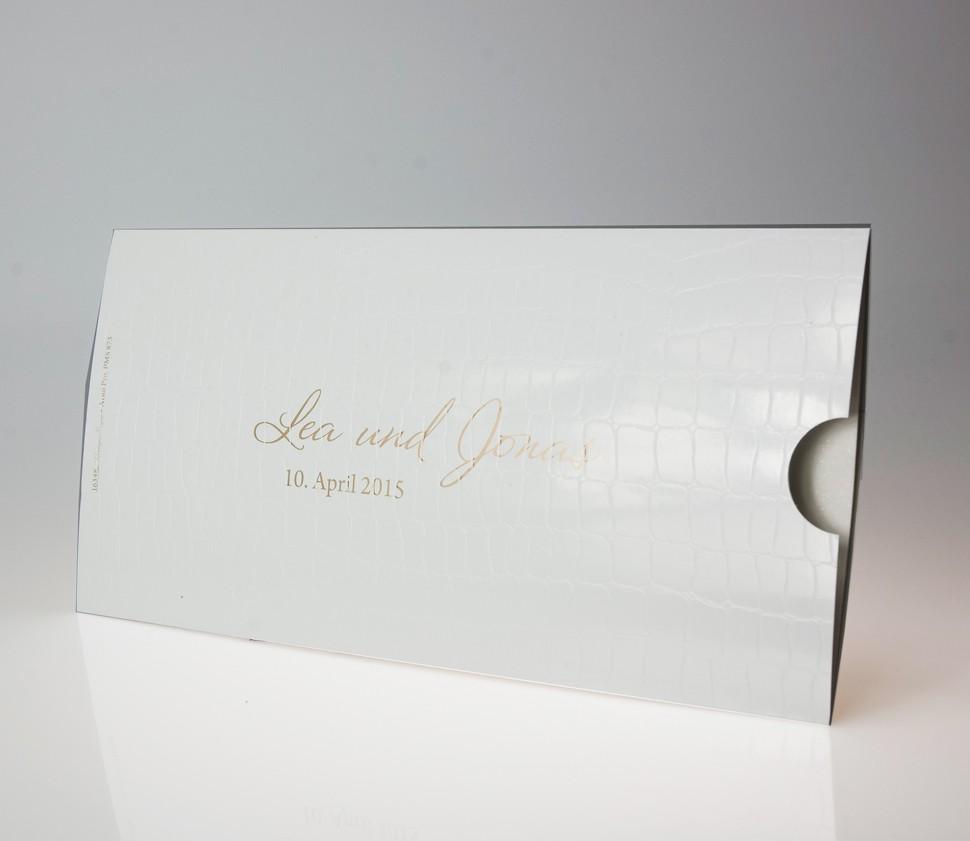 Weiße, hochglänzende Einladungskarte