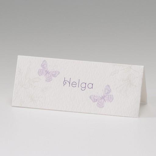 Beigefarbene Tischkarte mit Schmetterlingen und Blüten