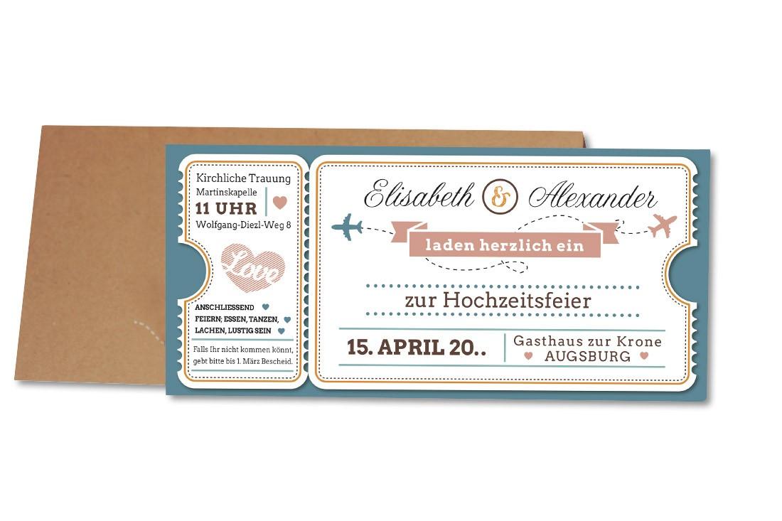 Von Fernweh geplagt oder die Hochzeit weit weg geplant? Wir halten die dafür geeignete Hochzeitskarte Flugticket für Sie bereit. Jetzt bestellen.
